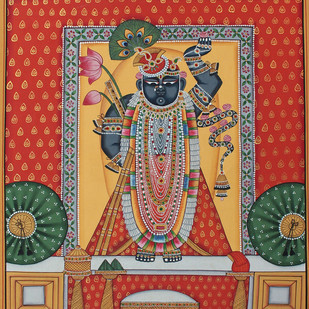 Srinath Ji by Unknown Artist, Folk Painting, Stone Colour on Cloth, Brown color