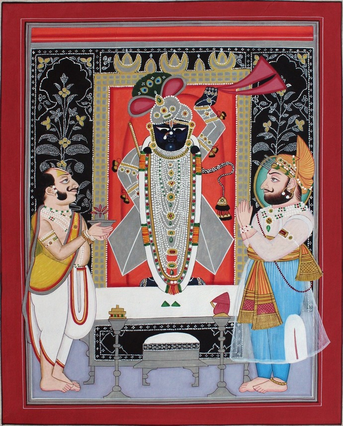 Shrinath Ji by Unknown Artist, Folk Painting, Natural colours on paper, Brown color