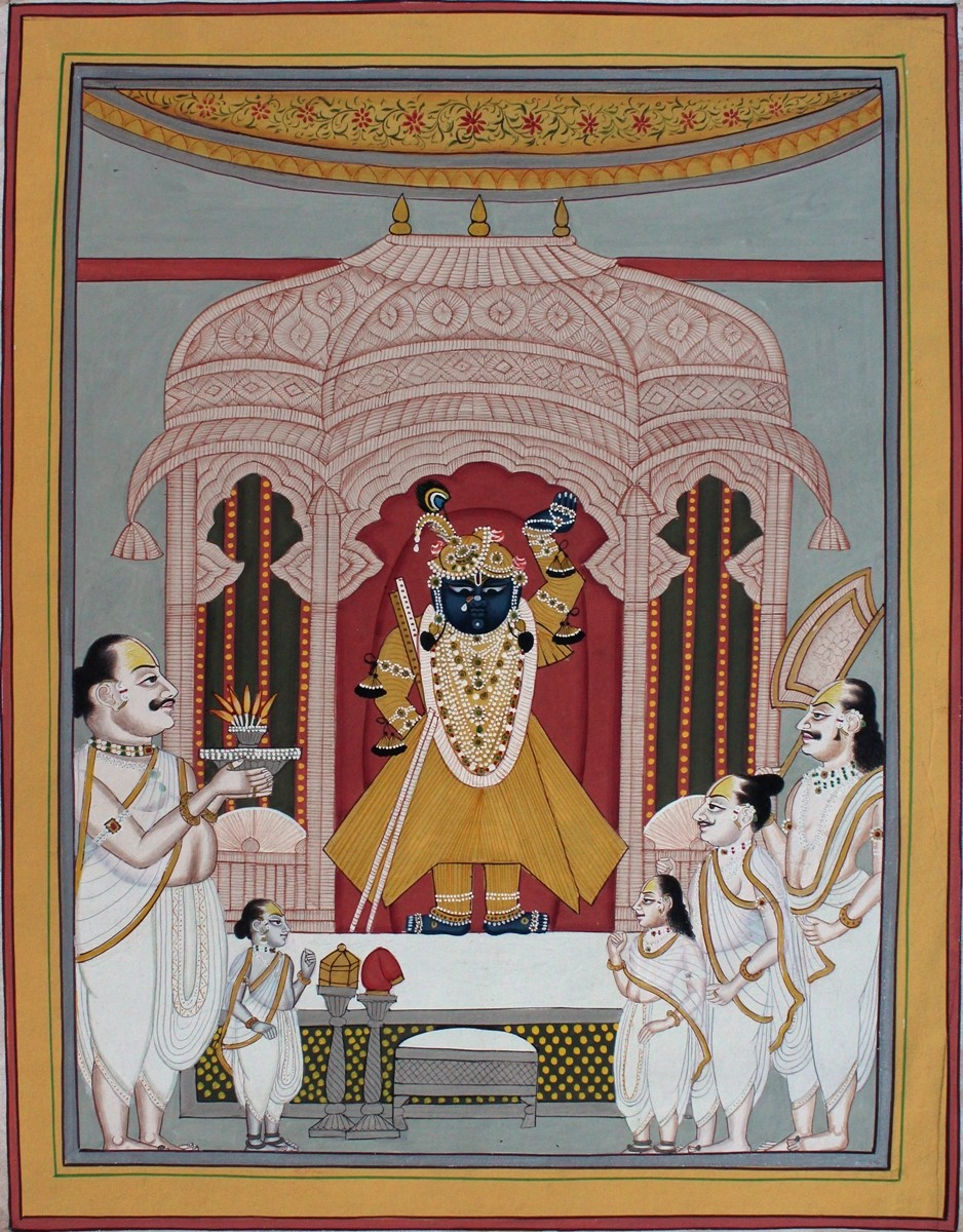 Shrinath Ji Darshan by Unknown Artist, Folk Painting, Natural colours on paper, Brown color