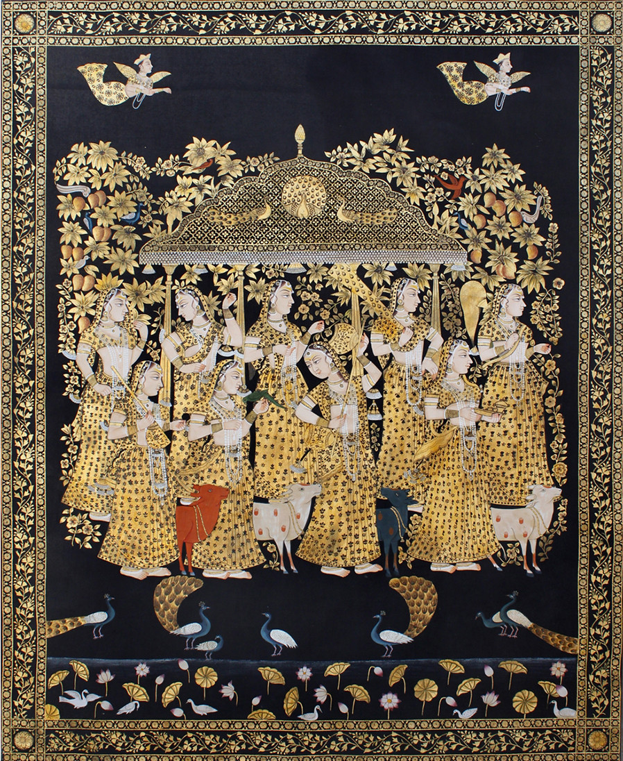 Goppies by Unknown Artist, Folk Painting, Stone Colour on Cloth, Brown color
