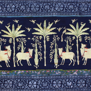 untitled by Unknown Artist, Folk Painting, Stone Colour on Cloth, Blue color