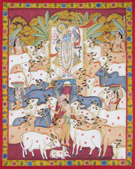 Shrinath Ji With Cows by Unknown Artist, Folk Painting, Stone Colour on Cloth, Beige color