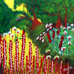 Garden -2 ON CANVAS by Shalini Goyal, Expressionism Painting, Oil & Acrylic on Canvas, Green color