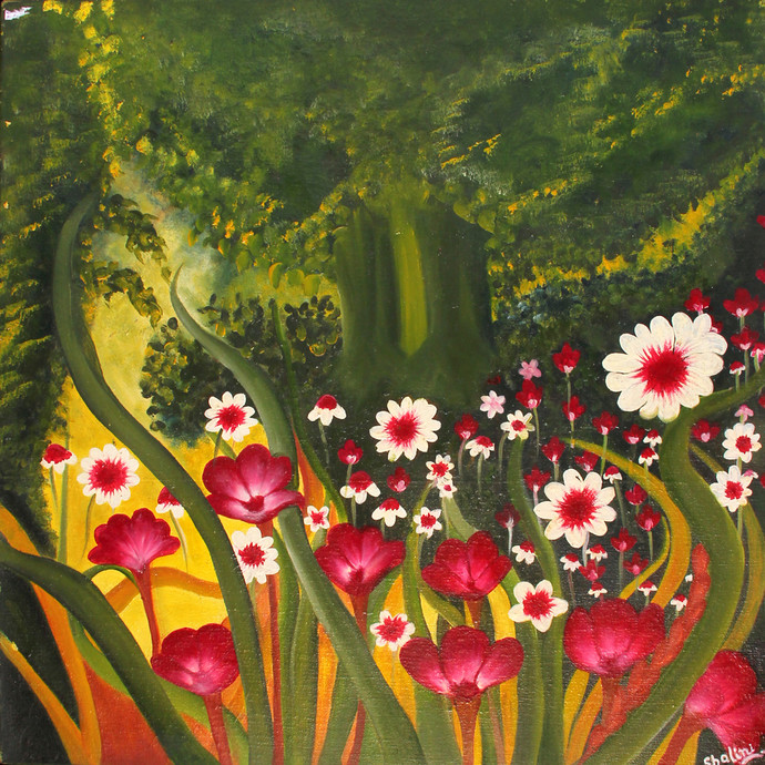 Garden -3 ON CANVAS by Shalini Goyal, Expressionism Printmaking, Oil on Canvas, Green color