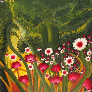 Garden -3 ON CANVAS by Shalini Goyal, Expressionism Painting, Oil on Canvas, Green color
