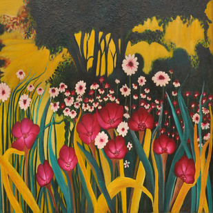 Garden -4 ON CANVAS by Shalini Goyal, Expressionism Painting, Oil on Canvas, Brown color