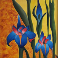 Floral on canvas by Shalini Goyal, Expressionism Painting, Oil on Canvas, Green color