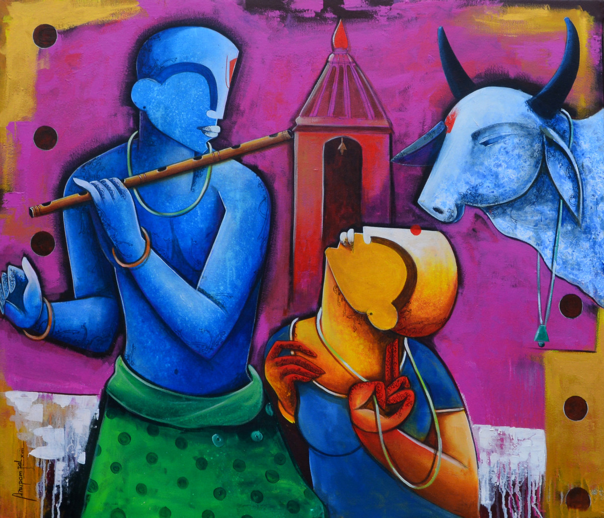 rhythms of love by anupam pal, Decorative Painting, Acrylic on Canvas, Blue color