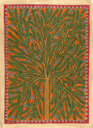 Tree of life by Unknown Artist, Folk Painting, Natural colours on paper, Brown color