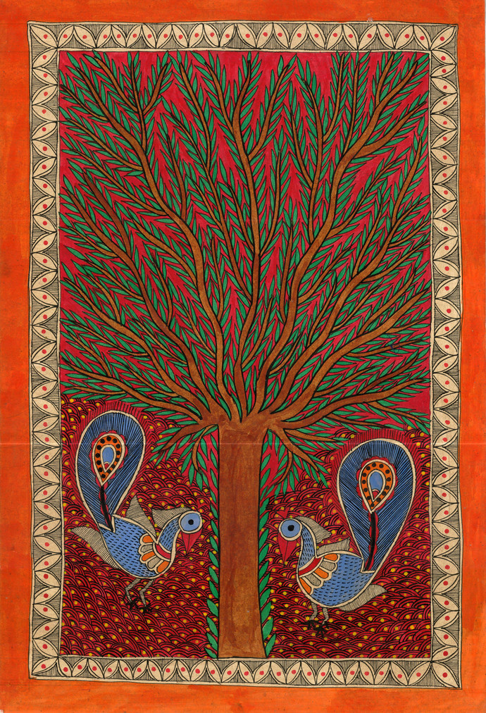 Happiness by Unknown Artist, Folk Painting, Natural colours on paper, Brown color