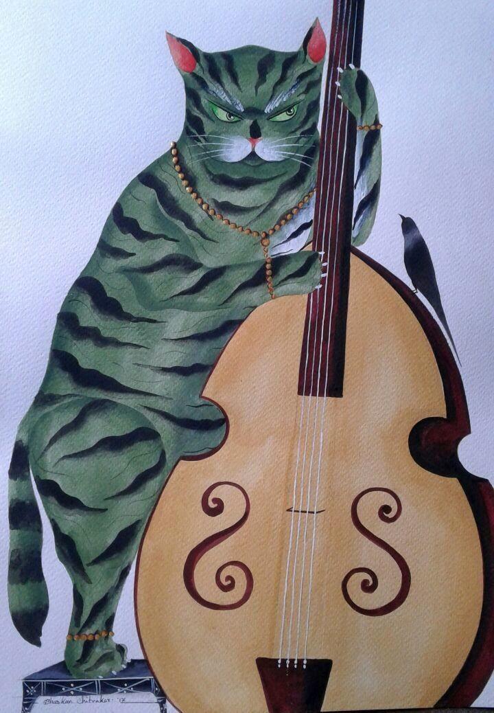 Jazz Cats - 1 by Bhaskar Chitrakar, Folk Painting, Natural colours on paper, Brown color