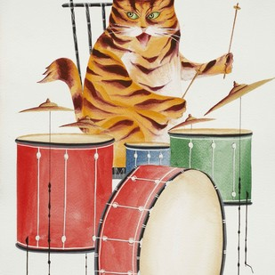 Jazz Cats - 2 by Bhaskar Chitrakar, Painting, Natural colours on paper, Gray color