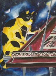 Jazz Cats - 3 by Bhaskar Chitrakar, Folk Painting, Natural colours on paper, Brown color