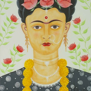 Kali-Kahlo - 12 by Bhaskar Chitrakar, Expressionism Painting, Natural colours on paper, Brown color