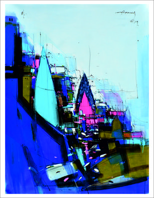 Temple 01 by Dheeraj Ramesh Yadav, Expressionism Painting, Acrylic on Canvas, Cyan color