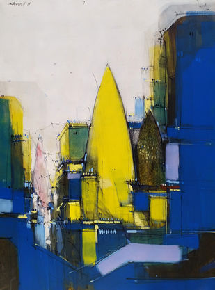 Temple 02 by Dheeraj Ramesh Yadav, Expressionism Painting, Acrylic on Canvas, Blue color