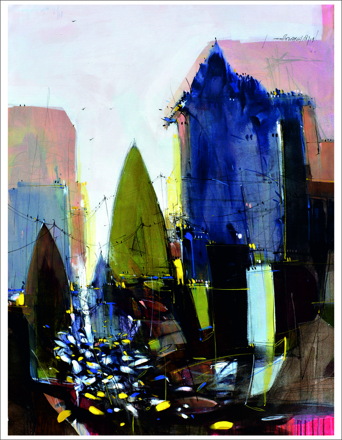 Temple 03 by Dheeraj Ramesh Yadav, Expressionism Painting, Acrylic on Canvas, Gray color