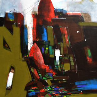 Temple 04 by Dheeraj Ramesh Yadav, Expressionism Painting, Acrylic on Canvas, Brown color