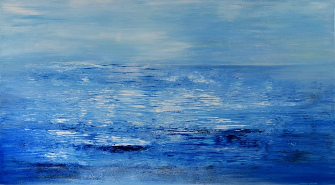The Morning Calm by Mahesh Sharma, Expressionism Painting, Acrylic on Canvas, Blue color