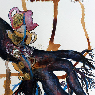 Tea-Side Stories by Sangeeta Singh, Expressionism Drawing, Mixed Media on Paper, Gray color