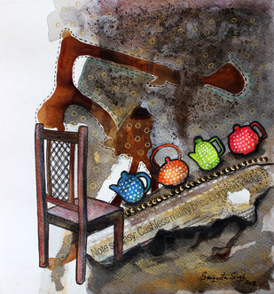 Tea-Side Stories by Sangeeta Singh, Expressionism Drawing, Mixed Media on Paper, Brown color