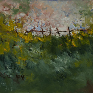the fence by Sachin Upadhye, Abstract Painting, Oil on Canvas, Green color