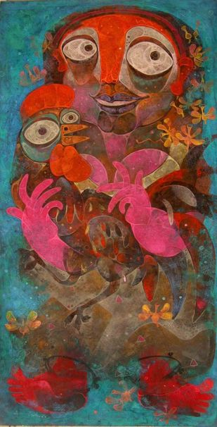 Phoolkumari with hen by Atish Mukherjee, Expressionism Painting, Tempera on Canvas, Brown color