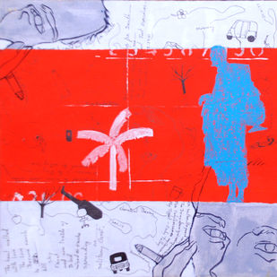 Who Will Be Rescued? Three by Samiran Dhar, Expressionism Painting, Mixed Media on Paper, Red color