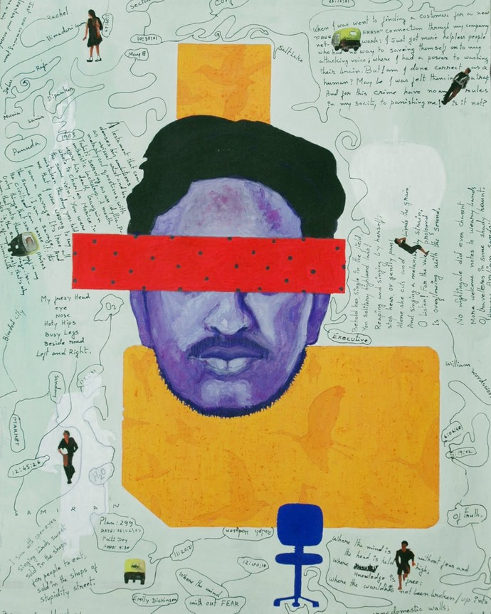 Morning Five thirty File with Balance by Samiran Dhar, Expressionism Painting, Mixed Media on Board, Cyan color