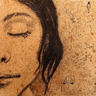 Silence by Samiran Dhar, Expressionism Painting, Mixed Media on Canvas, Brown color