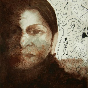 Face after blast by Samiran Dhar, Expressionism Painting, Acrylic & Ink on Paper, Brown color