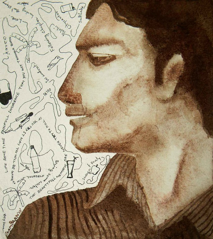 Men's attitude by Samiran Dhar, Expressionism Painting, Acrylic & Ink on Paper, Beige color