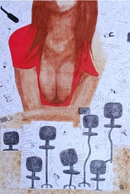 "Drawing ""F"" one by Samiran Dhar, Expressionism Drawing, Mixed Media on Paper, Pink color"