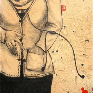 It was Departure by Samiran Dhar, Expressionism Drawing, Mixed Media on Paper, Beige color