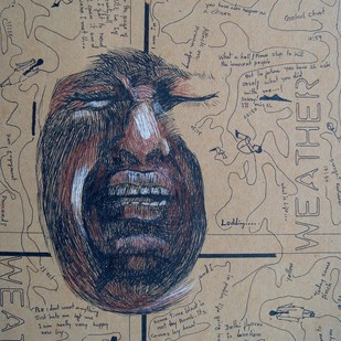 It was blast by Samiran Dhar, Expressionism Drawing, Mixed Media on Paper, Brown color