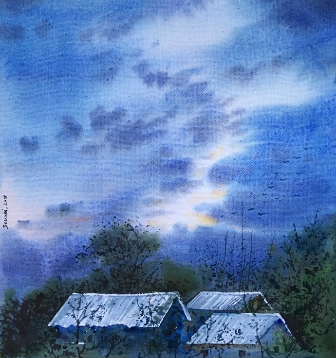 untitled 1 by SOUMI JANA, Impressionism Painting, Watercolor on Paper, Blue color