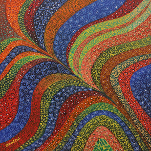 Flow of colors by Shalini Goyal, Decorative Painting, Acrylic on Canvas, Brown color