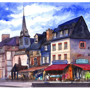 Streetside Cafes by Tauseef Ahmed, Impressionism Painting, Watercolor on Paper, Brown color