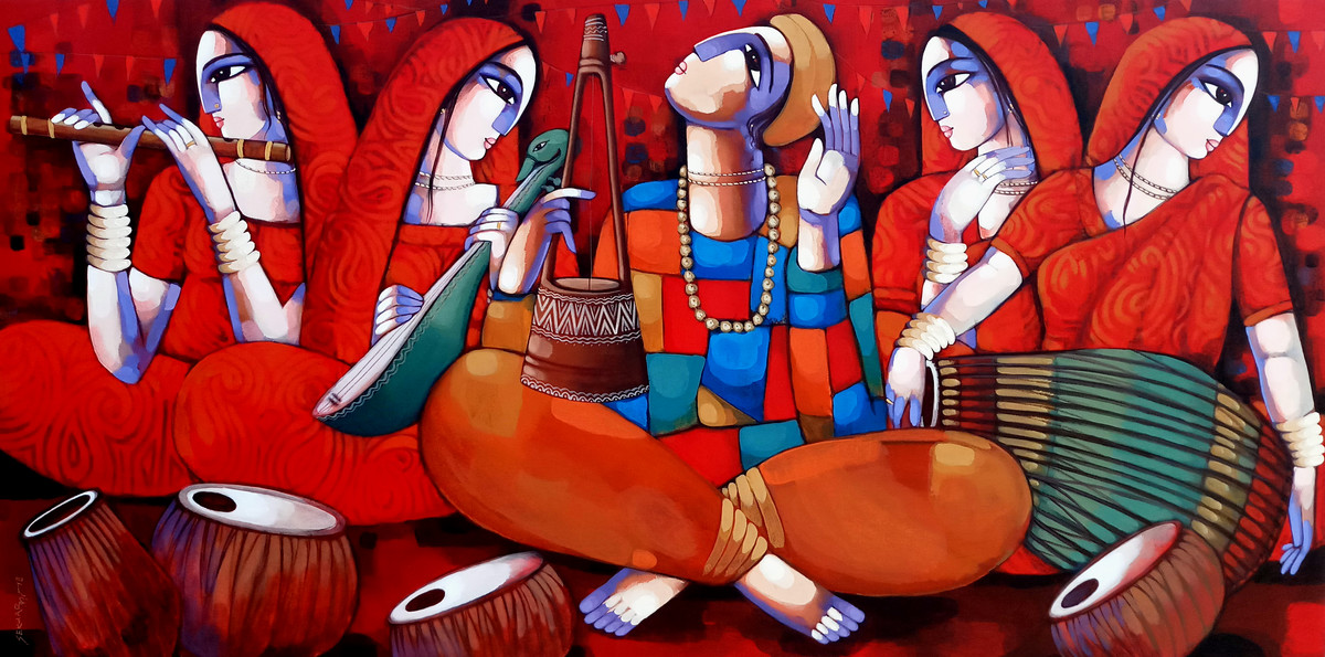MUSIC (BAUL) by Sekhar Roy, Decorative Painting, Acrylic on Canvas, Brown color