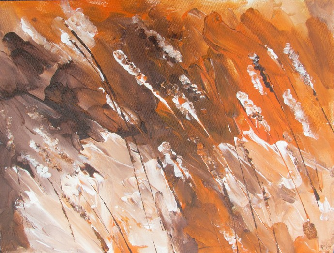 Dancing in the wind by Broti Ganguly, Abstract Painting, Acrylic on Canvas, Brown color
