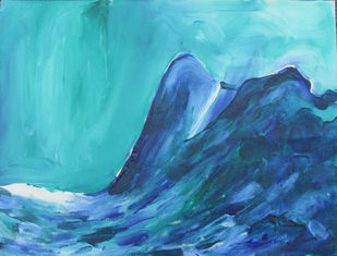 Deep Blue by Broti Ganguly, Abstract Painting, Acrylic on Canvas, Cyan color