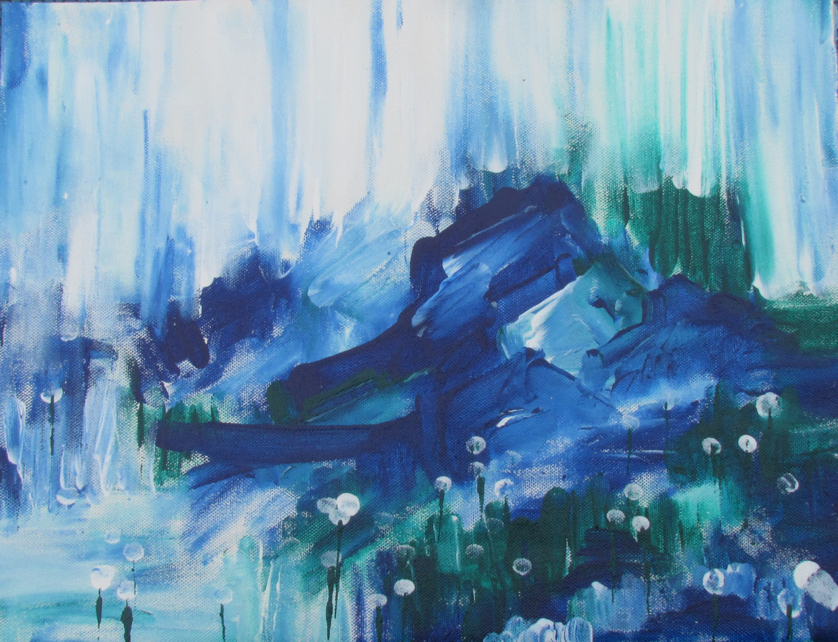 The blue nowhere by Broti Ganguly, Abstract Painting, Acrylic on Canvas, Cyan color