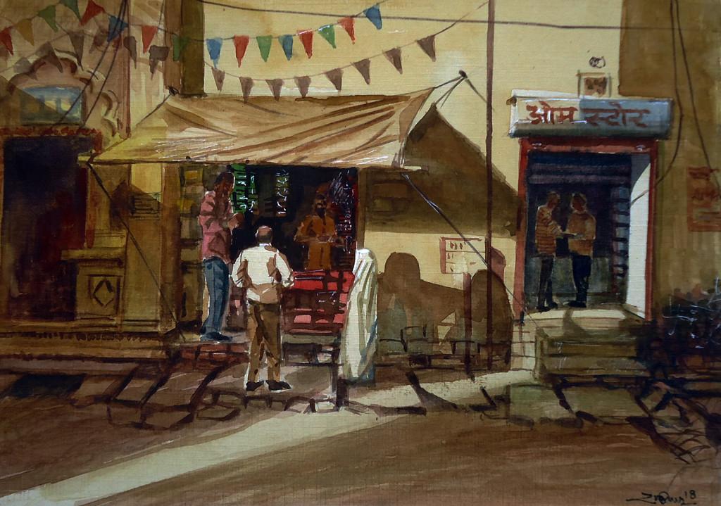 shopkeepar by Ram Kumar Maheshwari, Impressionism Painting, Watercolor on Board, Brown color