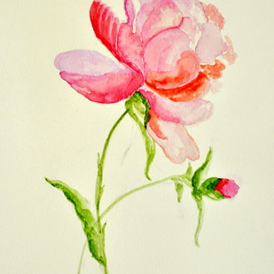 Winter bloom by Manpreet , Impressionism Painting, Watercolor on Paper, Beige color