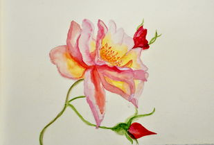 Winter bloom 2 by Manpreet , Impressionism Painting, Watercolor on Paper, Beige color