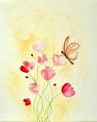 May by Manpreet , Impressionism Painting, Watercolor on Paper, Yellow color