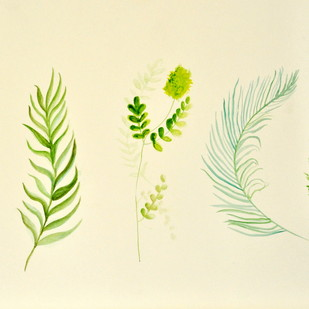 wild ferns by Manpreet , Impressionism Painting, Watercolor on Paper, Yellow color