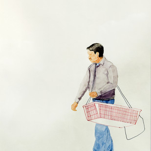 Untitled by Biplab Sarkar, Expressionism Painting, Watercolor on Paper, Gray color