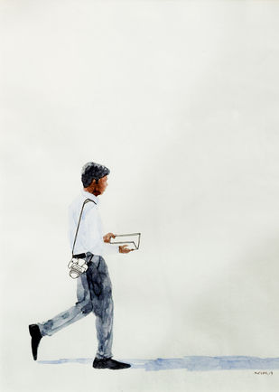 Untitled by Biplab Sarkar, Illustration Painting, Watercolor on Paper, Gray color