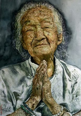 When grace is joined with wrinkles Digital Print by Uday Bhan,Realism